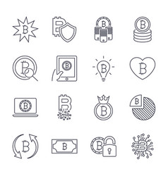 Bitcoin different icons set for internet money vector