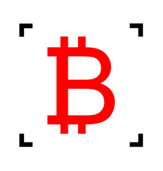 bitcoin sign red icon inside black focus vector image