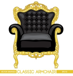 Black and yellow classic armchair over white backg vector image
