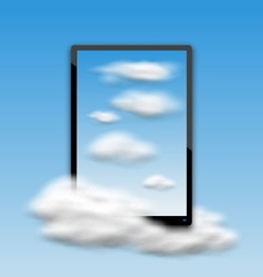 Black Tablet PC Computer with Clouds and Blue Sky vector image