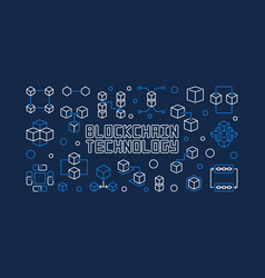 blockchain technology blue horizontal vector image