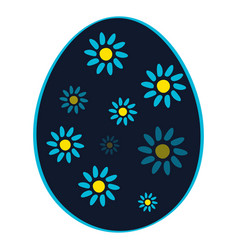 Blue easter eggs with flower isolated on a white vector