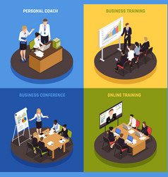business coaching isometric icons set vector image