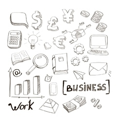 Business finance doodle hand drawn elements vector