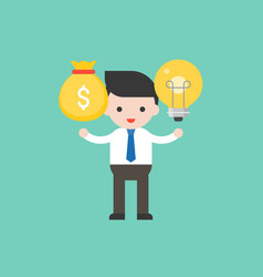 Businessman hold light bulb at left hand and vector