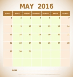 Calendar May 2016 week starts Sunday vector image