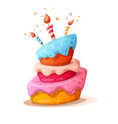 cartoon cake with candle happy vector image