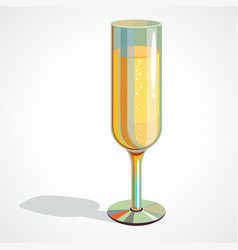 cartoon full glass of champagne drawing vector image