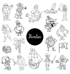cartoon pirate characters collection vector image