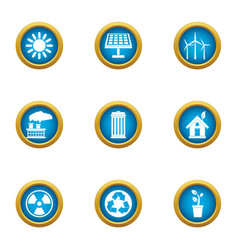 chemical sector icons set flat style vector image