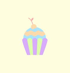 Cherry cupcake dessert vector