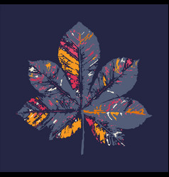 chestnut leaf print inkprinted leaves of vector image