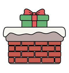 Chimney with gift and snow decoration merry vector