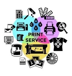 CMYK Print Service Composition vector image