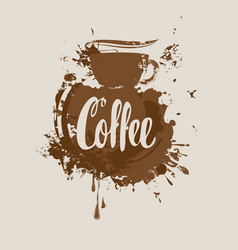 coffee banner with coffee cup stains and splashes vector image