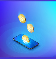 coin drops into mobile phone isometric banner vector image
