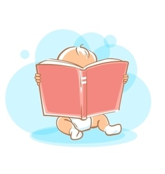 Cute little baby reading book vector