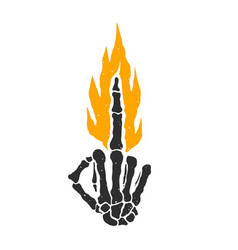 Dead skeleton hand burning middle finger bad sign vector