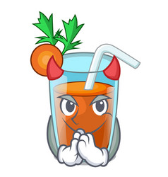 Devil fresh smoothie carrot in cartoon table vector