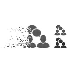 Dissolved pixel halftone people dialog icon vector