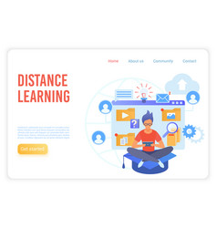 distance learning flat landing page vector image