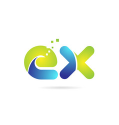 Ex e x blue green combination alphabet letter vector