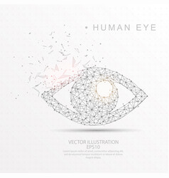 Eye shape digitally drawn low poly wire frame vector