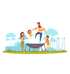 family active holidays trampoline vector image