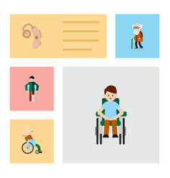 flat icon cripple set of injured disabled person vector image
