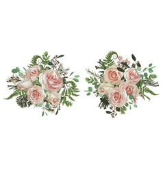 floral bouquet design set green forest leaf vector image