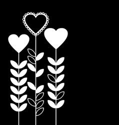Flower heart black vector