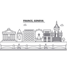 france geneva architecture line skyline vector image