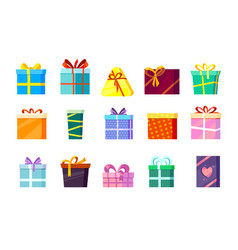 gifts boxes colored xmas valentine and other vector image