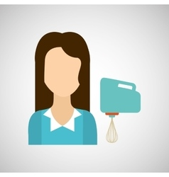 Girl with blender icon vector