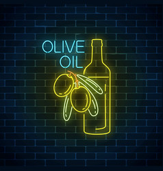 glowing neon sign of olive oil on dark brick wall vector image