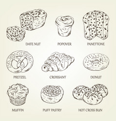 Graphic sketch different pastry products vector
