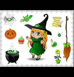 green halloween cartoon set of objects for witches vector image