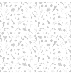 grey flowers and leaves silhouettes seamless vector image