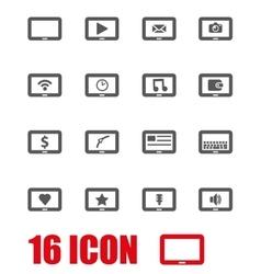 Grey tablet icon set vector