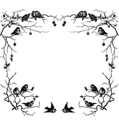 Hand drawing frame from sparrows sitting on vector