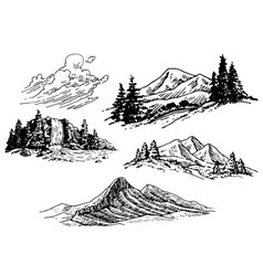 Hand-drawn mountains vector