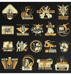 Hiphop Rock Emblem Set vector