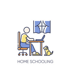 Home schooling rgb color icon vector
