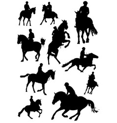 horse rider silhouettes bw vector image