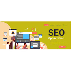 indian couple man woman monitoring seo search vector image
