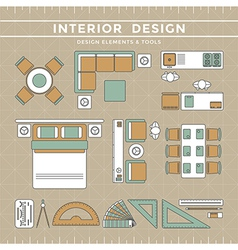 Interior Design Elements Tools vector image vector image