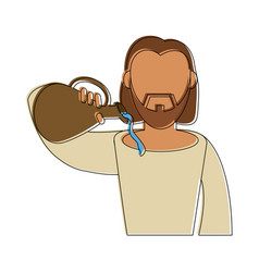 jesuschrist wine miracle cartoon vector image