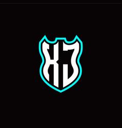 k j initial logo design with shield shape vector image