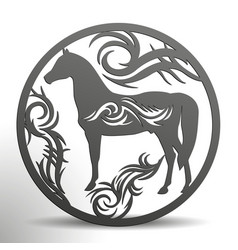 Laser die cuttin horse with tribal in a circle vector