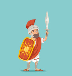 legionnaire sword shield warrior soldier greek vector image